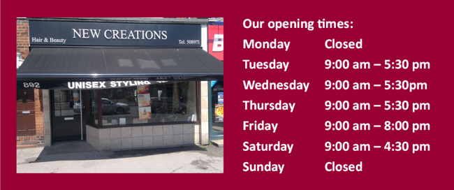 New Creations Opening Times